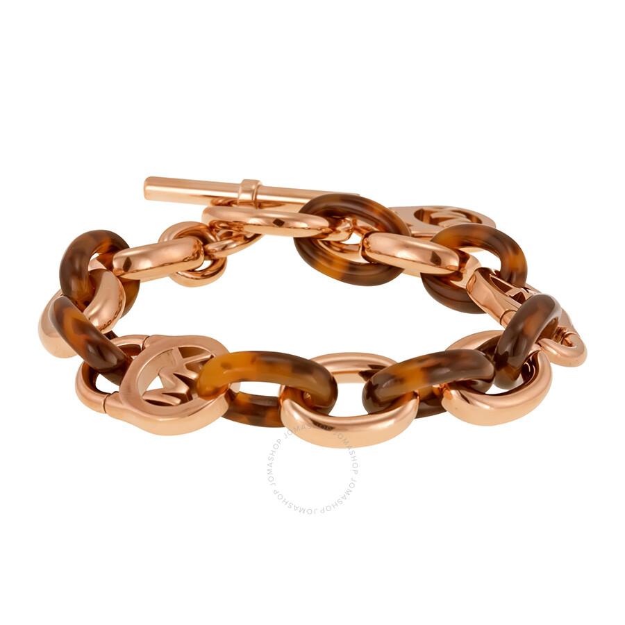 53bd2f028514d Michael Kors Rose Gold-tone and Acetate Chain-Link Bracelet MKJ4059791 ...