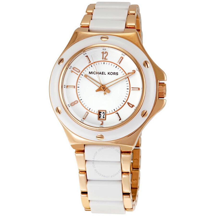 fb52581de03 Michael Kors Rose Gold-tone and White Acrylic Ladies Watch MK5261 ...