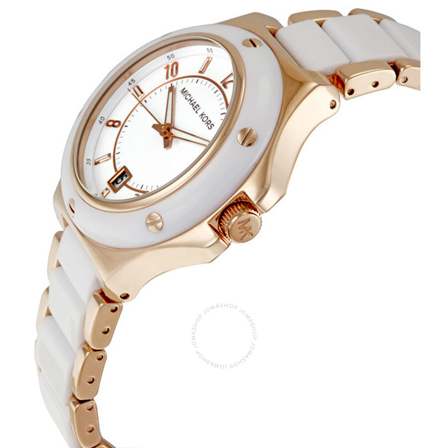 92d00b99960f5 ... Michael Kors Rose Gold-tone and White Acrylic Ladies Watch MK5261 ...