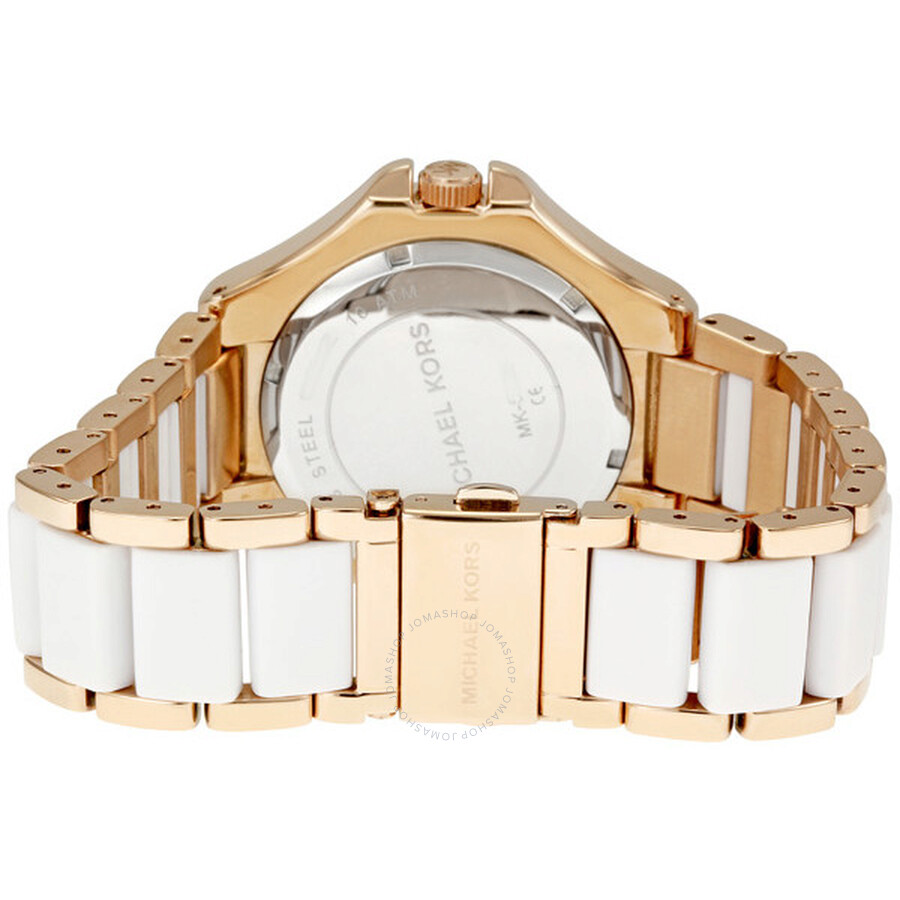 afbdcf9988a ... Michael Kors Rose Gold-tone and White Acrylic Ladies Watch MK5261 ...