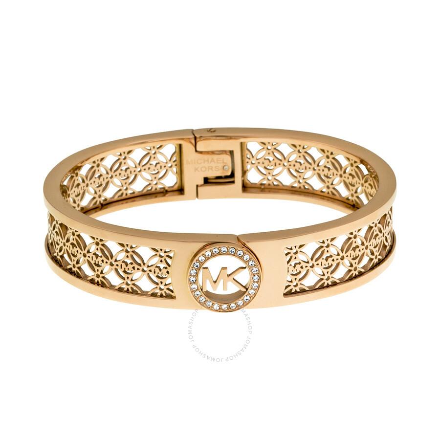 michael kors rose gold tone logo bangle bracelet. Black Bedroom Furniture Sets. Home Design Ideas