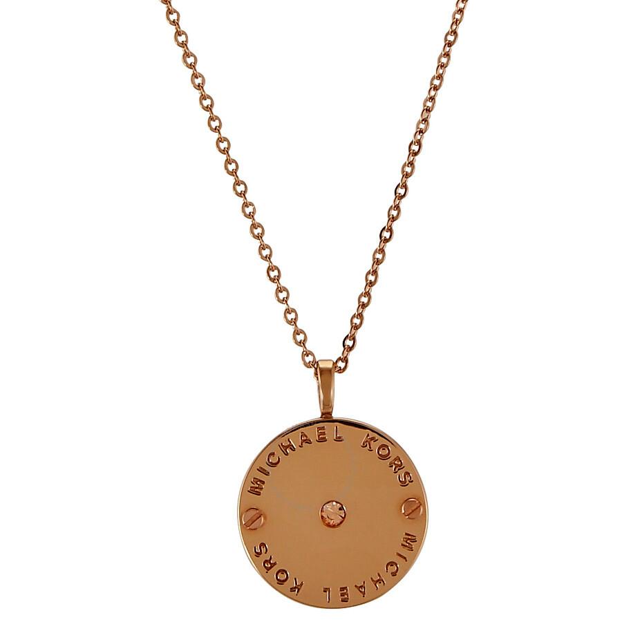 3bbc073850e Michael Kors Rose Gold-tone Logo Disc Necklace MKJ2656791 - Michael ...