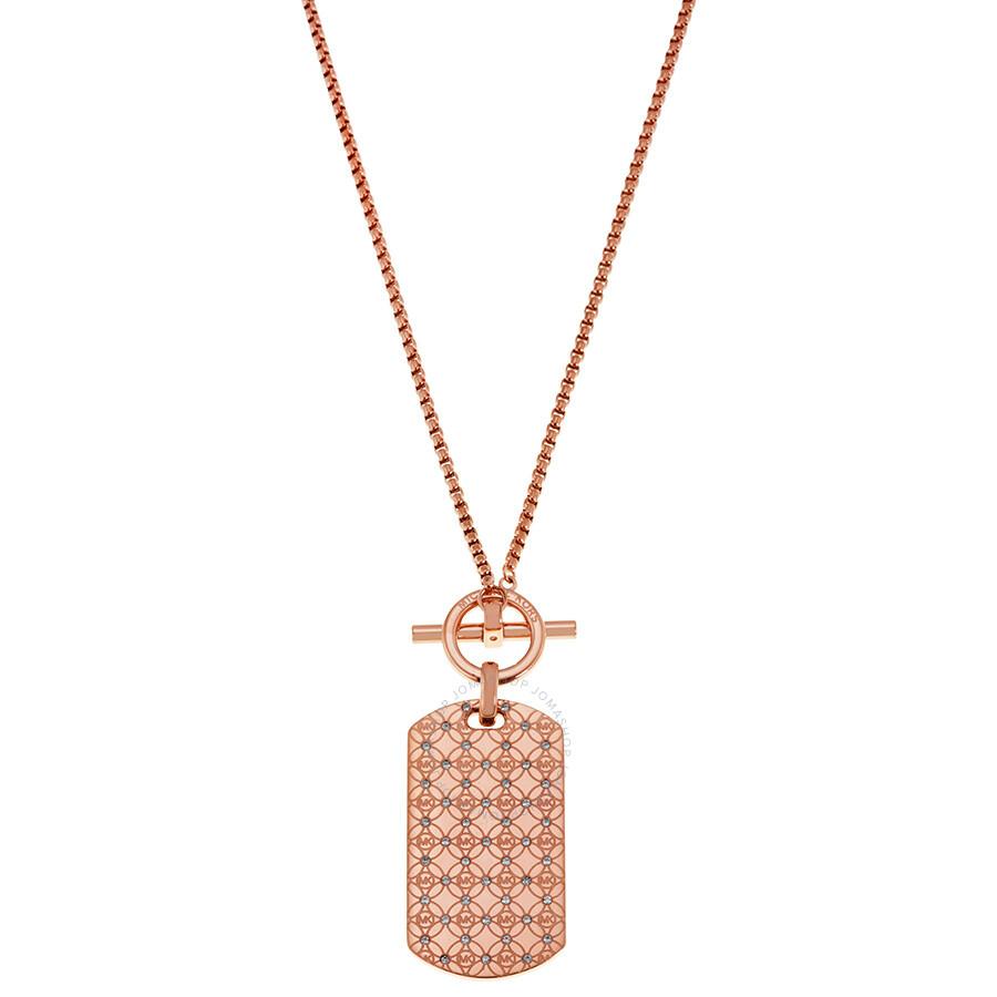 d68aa3464d0e Michael Kors Rose Gold-tone Logo Dog Tag Pendant Necklace Item No.  MKJ4287791