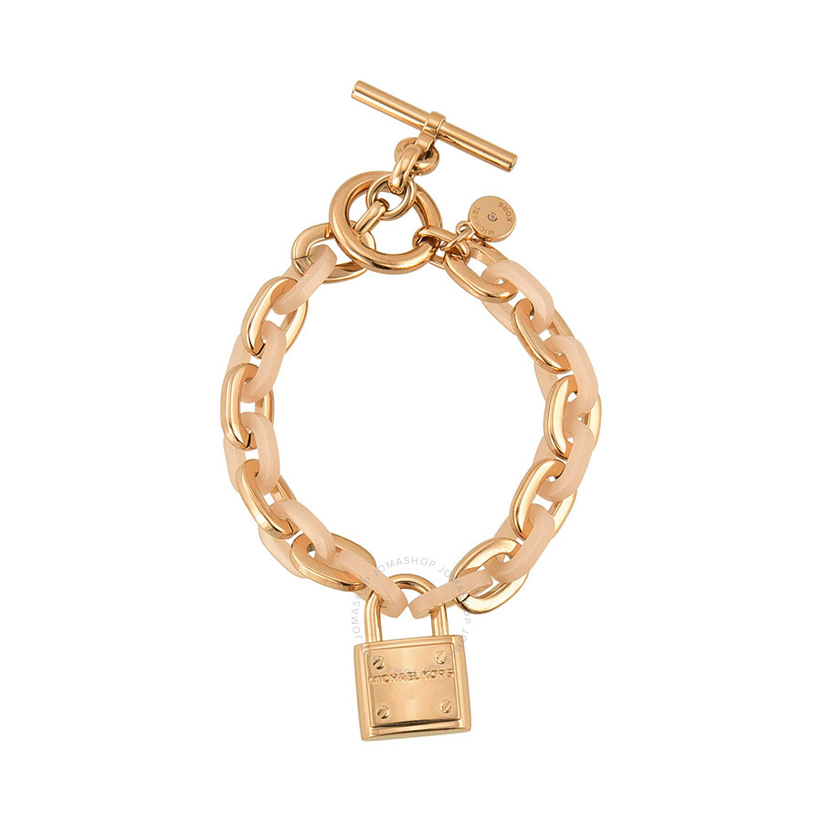 michael kors rose gold tone padlock logo bracelet mkj4326791 michael kors ladies jewelry. Black Bedroom Furniture Sets. Home Design Ideas