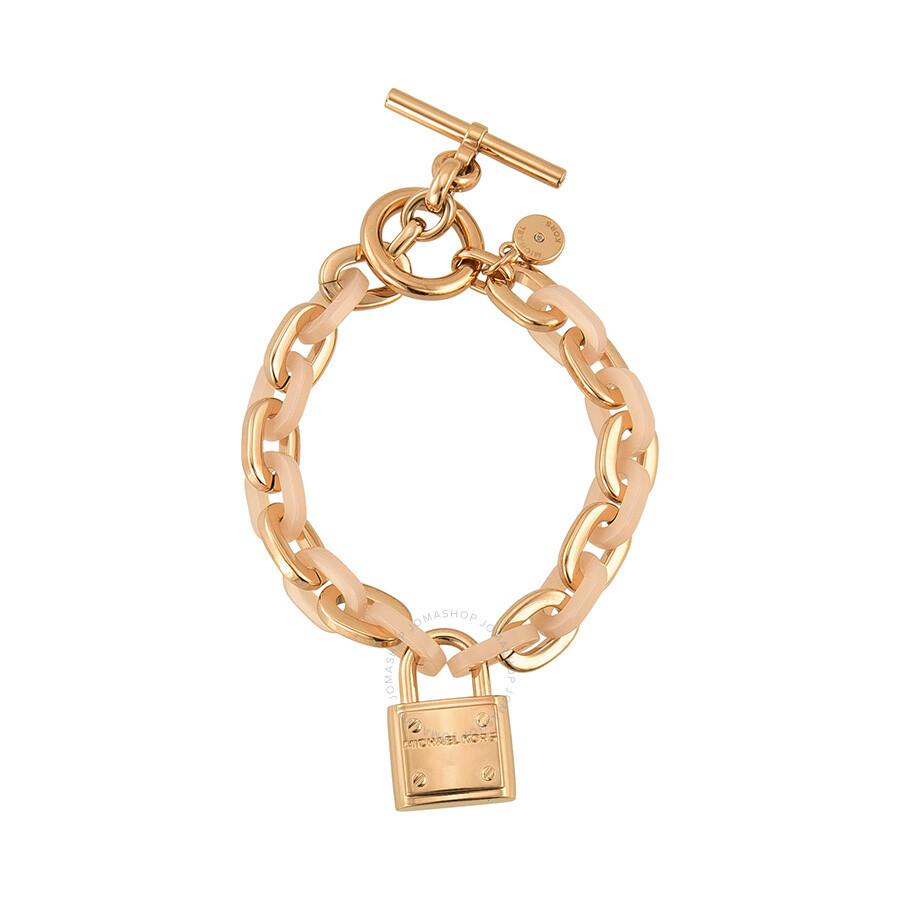 58a0922c527d Michael Kors Rose Gold-tone Padlock Logo Bracelet MKJ4326791 ...