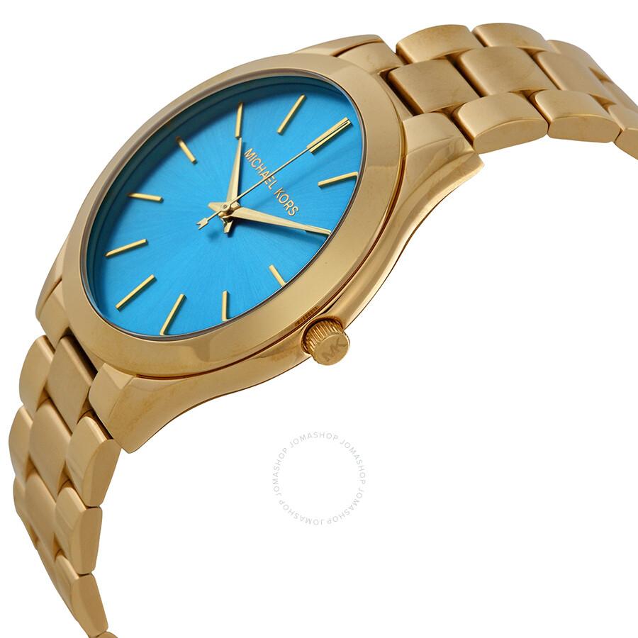 eb4b4e0d6600 ... Michael Kors Runway Blue Dial Gold Tone Stainless Steel Ladies Watch  MK3265 ...