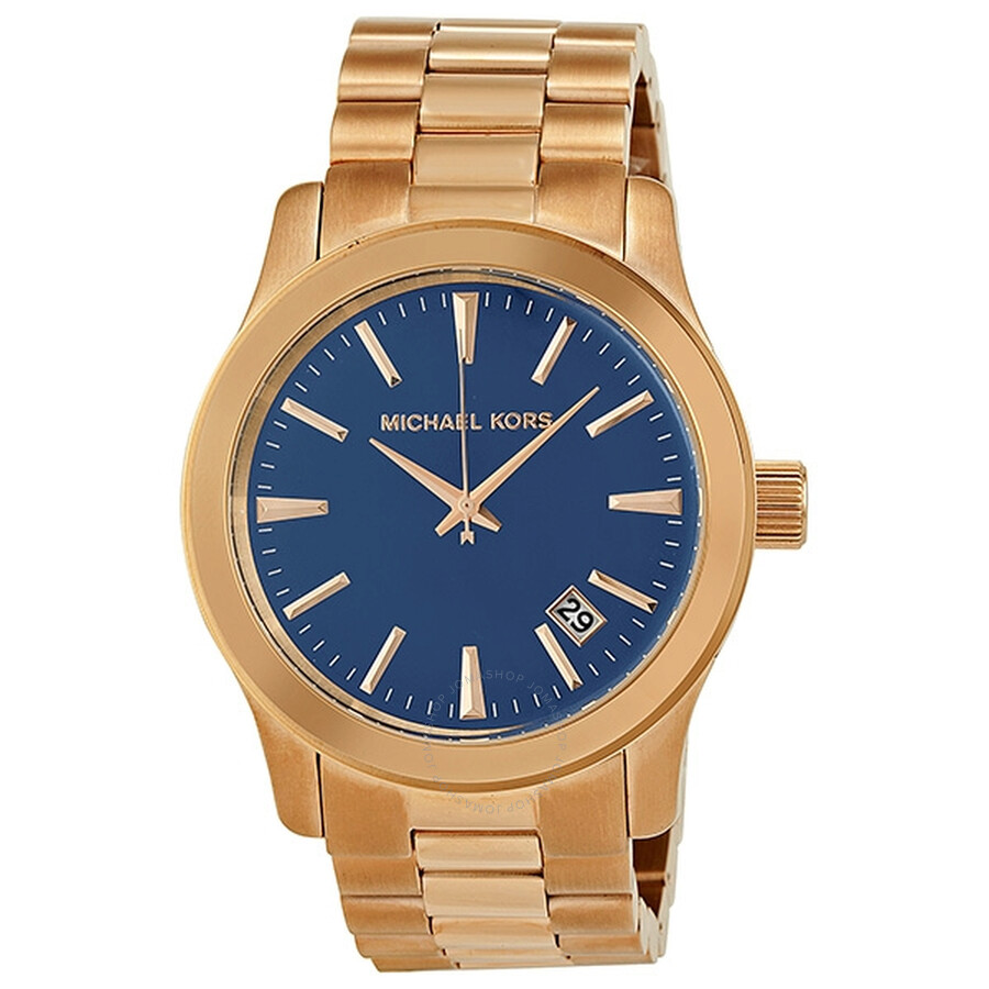 fbc3421c91f2 Michael Kors Runway Blue Dial Rose Gold-Tone Men s Watch MK7065 ...