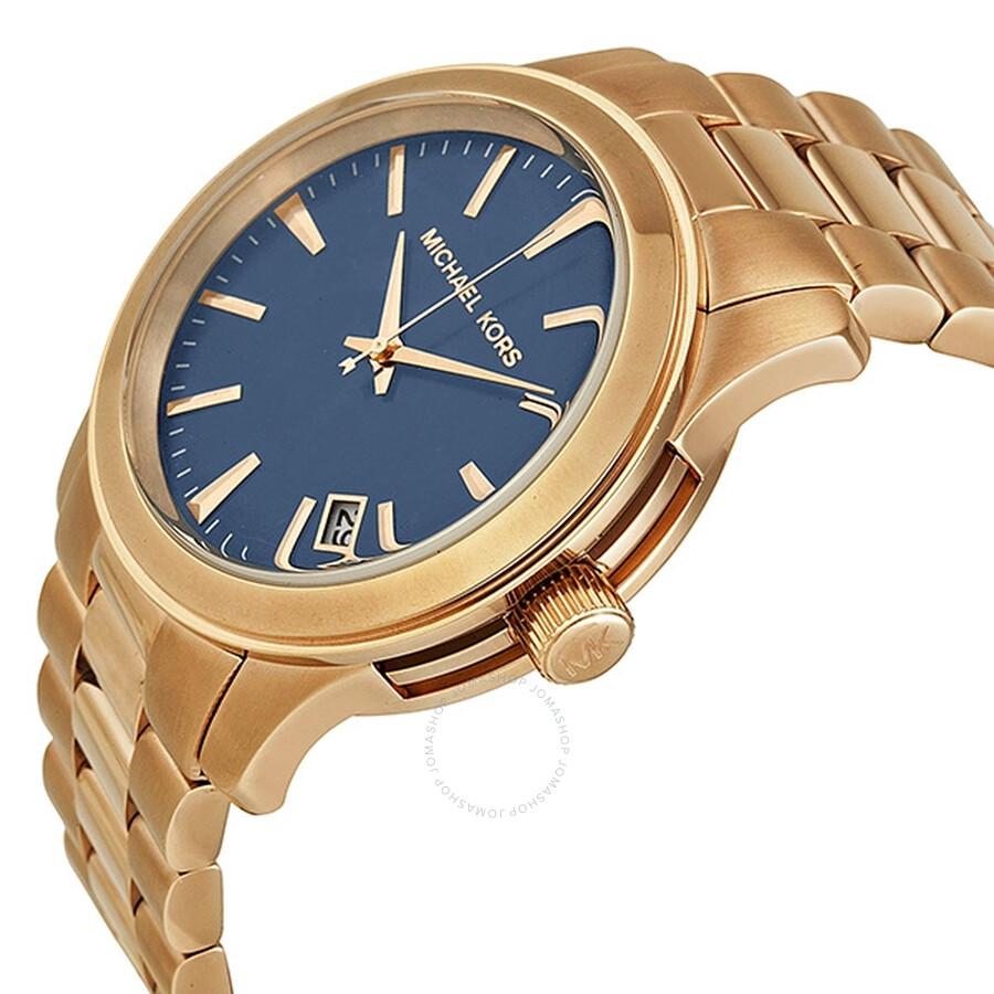 440564e98b48 ... Michael Kors Runway Blue Dial Rose Gold-Tone Men s Watch MK7065 ...