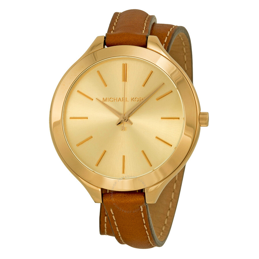 Michael Kors Runway Champagne Dial Tan Leather Ladies ...