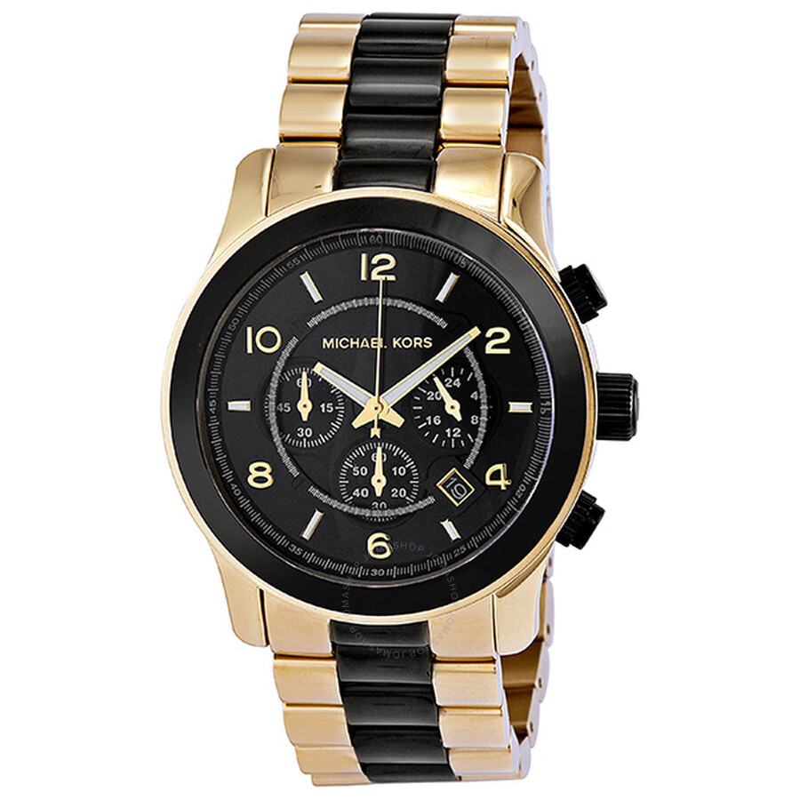 michael kors runway chronograph black gold tone s
