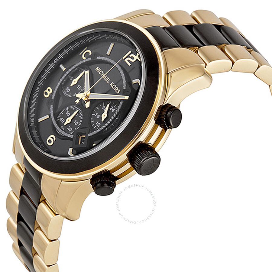 489a23fbaab8 ... Michael Kors Runway Chronograph Black Dial Gold-Tone Men s Watch MK8265  ...