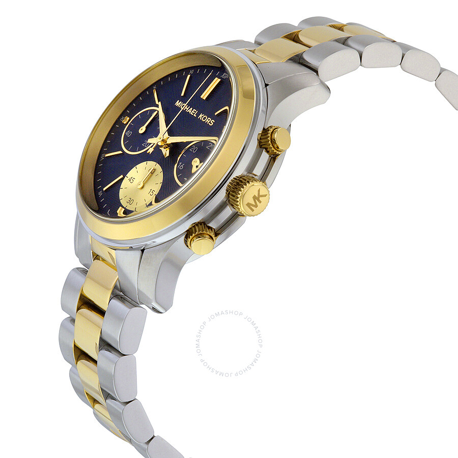 69e9f436008c ... Michael Kors Runway Chronograph Blue Dial Two-tone Ladies Watch MK6165  ...