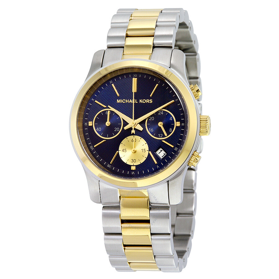 michael kors runway chronograph blue two tone