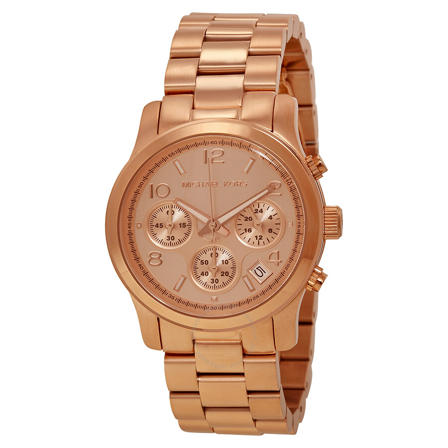 michael kors runway chronograph gold dial ladies watch. Black Bedroom Furniture Sets. Home Design Ideas