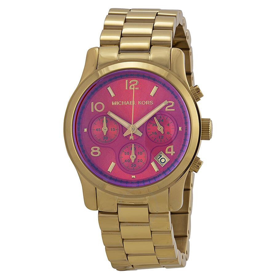 michael kors runway chronograph iridescent pink gold