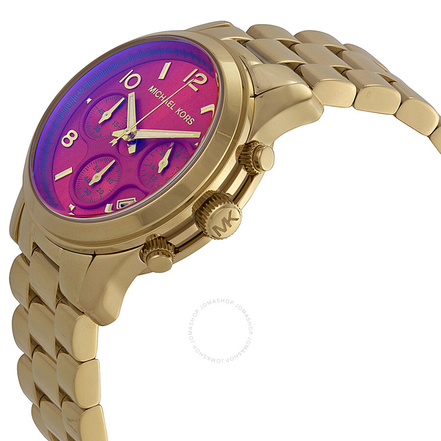 198bdbb06 ... Michael Kors Runway Chronograph Iridescent Pink Dial Gold-tone Ladies  Watch MK5939 ...