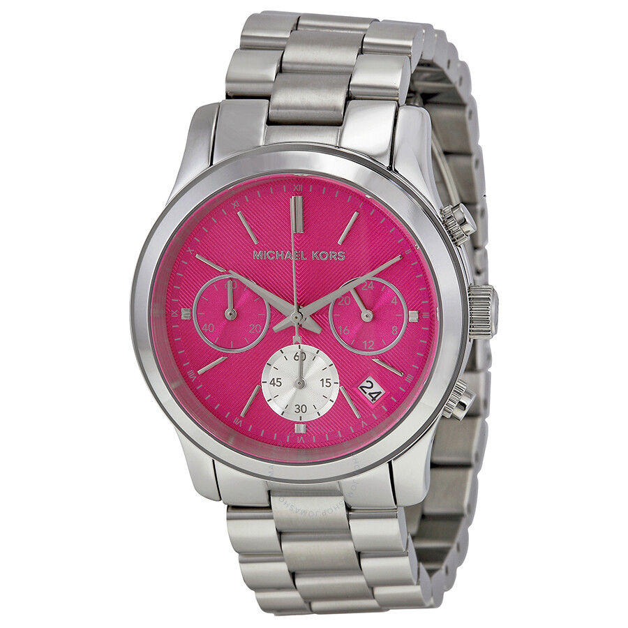 354c64bf8c9a Michael Kors Runway Chronograph Pink Dial Stainless Steel Ladies Watch  MK6160 ...