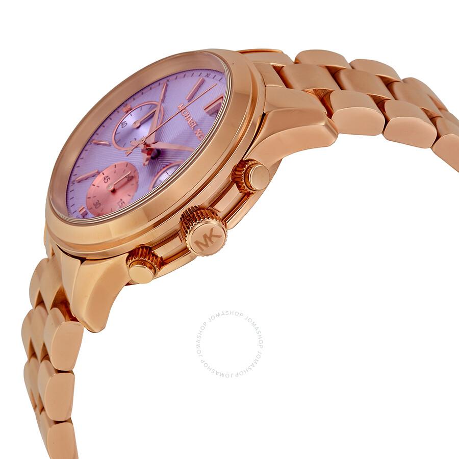 1ff323fd2279 ... Michael Kors Runway Chronograph Purple Dial Rose Gold-tone Ladies Watch  MK6163 ...