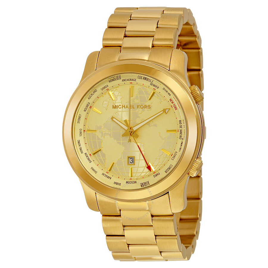 30a851c34ed3 Michael Kors Runway GMT Champagne (World Globe) Dial Yellow Ion-plated Watch  MK5960 ...