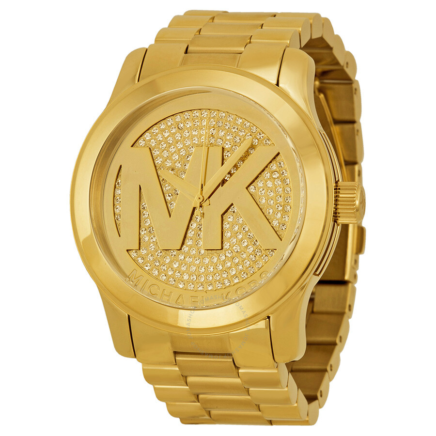 c5df522205d2 Michael Kors Runway Gold Dial Crystal Pave Gold-tone Ladies Watch MK5706 ...
