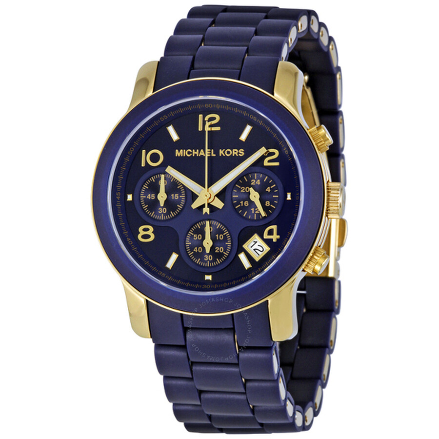 659af4a87aaa Michael Kors Runway Navy Silicone Wrapped Ladies Watch MK5316 ...