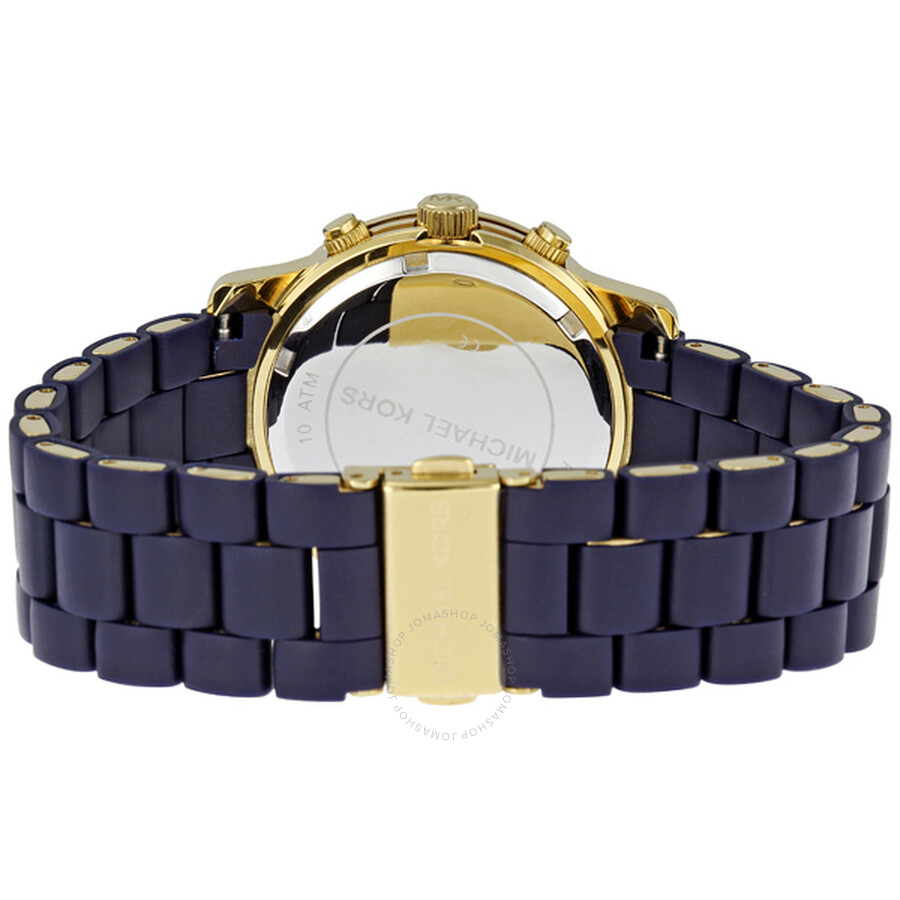1d7512e54363 ... Michael Kors Runway Navy Silicone Wrapped Ladies Watch MK5316 ...