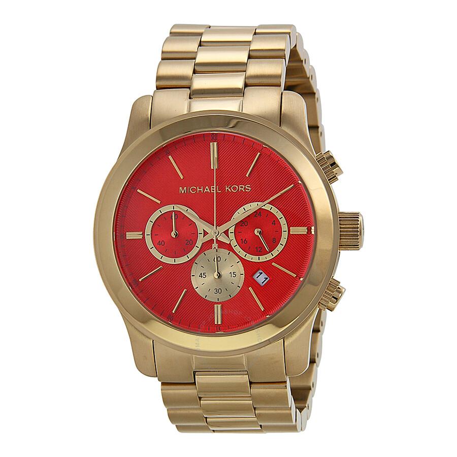 d99be6514eeb Michael Kors Runway Orange Dial Gold-tone Ladies Watch MK5930 ...