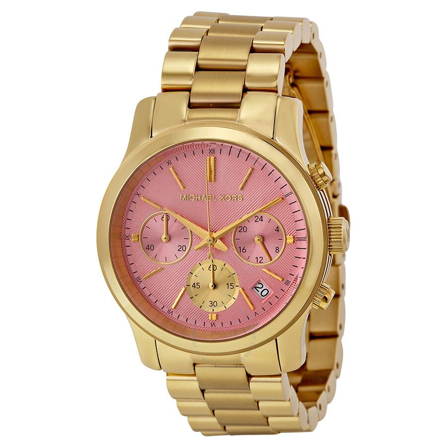 0aab10586851 Michael Kors Runway Pink Dial Gold-tone Stainless Steel Ladies Watch MK6161  ...