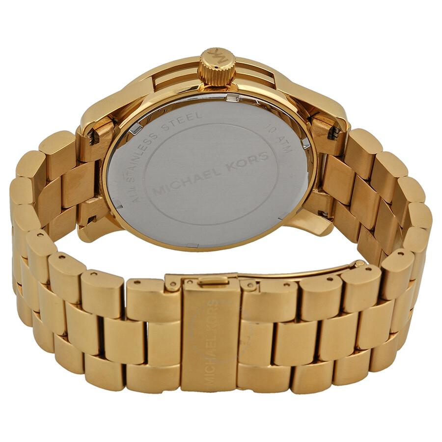 a466a6aaf7cd ... Michael Kors Runway Quartz Gold-tone Bracelet Champagne Dial Ladies Watch  MK5473 ...