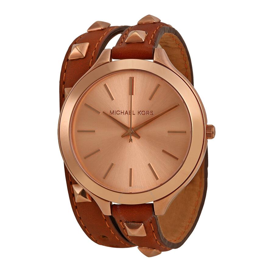 e21cadfd96b7 Michael Kors Runway Rose Dial Brown Leather Ladies Watch MK2299 ...