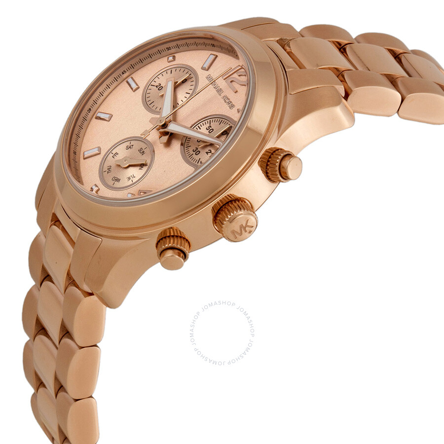 45a8a64201c3 ... Michael Kors Runway Rose Gold Tone Dial Chronograph Ladies Watch MK5430  ...