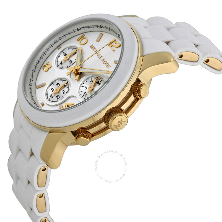 33a5a7f81398 ... Michael Kors Runway Silver Dial White Polyurethane Ladies Watch MK5145  ...