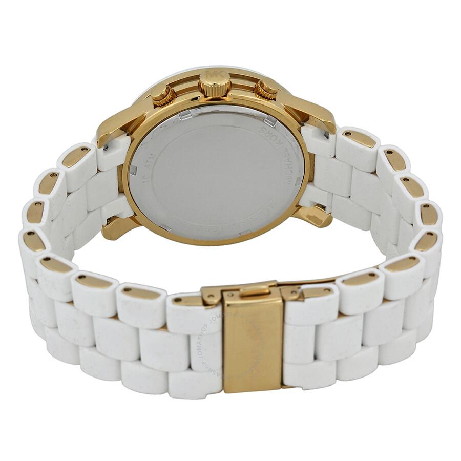 5b4230a1a27d ... Michael Kors Runway Silver Dial White Polyurethane Ladies Watch MK5145  ...