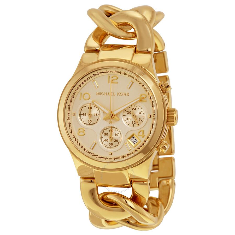 michael kors runway twist chronograph gold tone