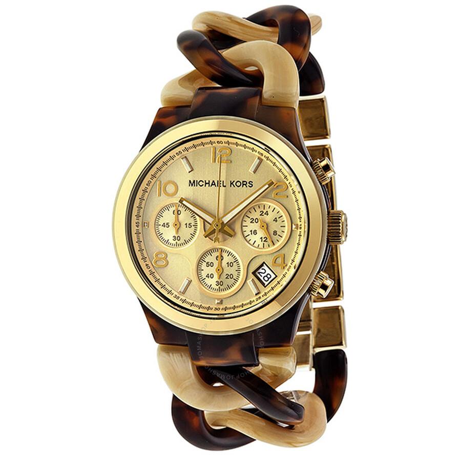 85e527391d0d Michael Kors Runway Yellow Gold-tone Tortoise Chain Link Ladies Watch  MK4270 ...