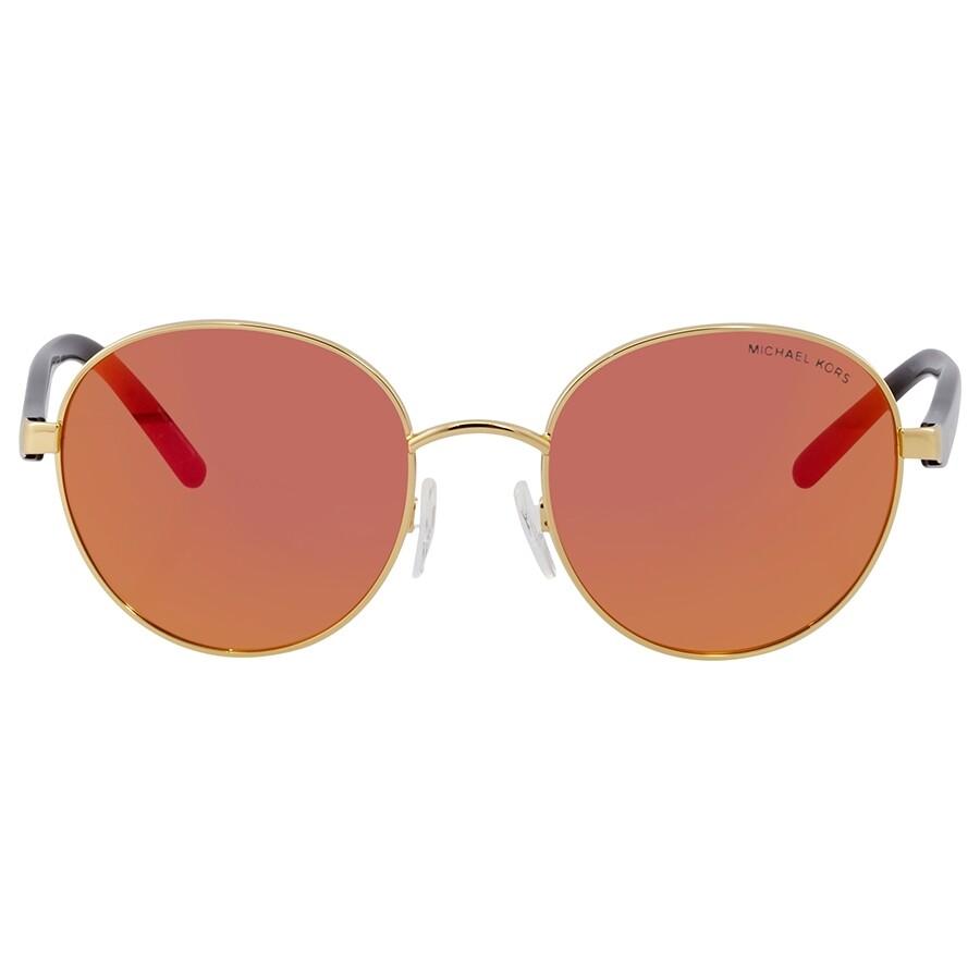 92c8d7bdcf1b Michael Kors Sadie III Round Orange Mirrored Sunglasses - Michael ...