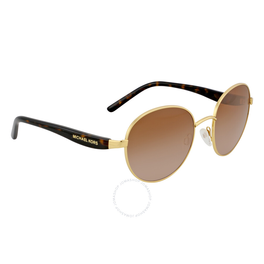 521bedd8410a ... Michael Kors Sadie Round Gold/Smoke Gradient Sunglasses MK1007 100413 52 -19 ...