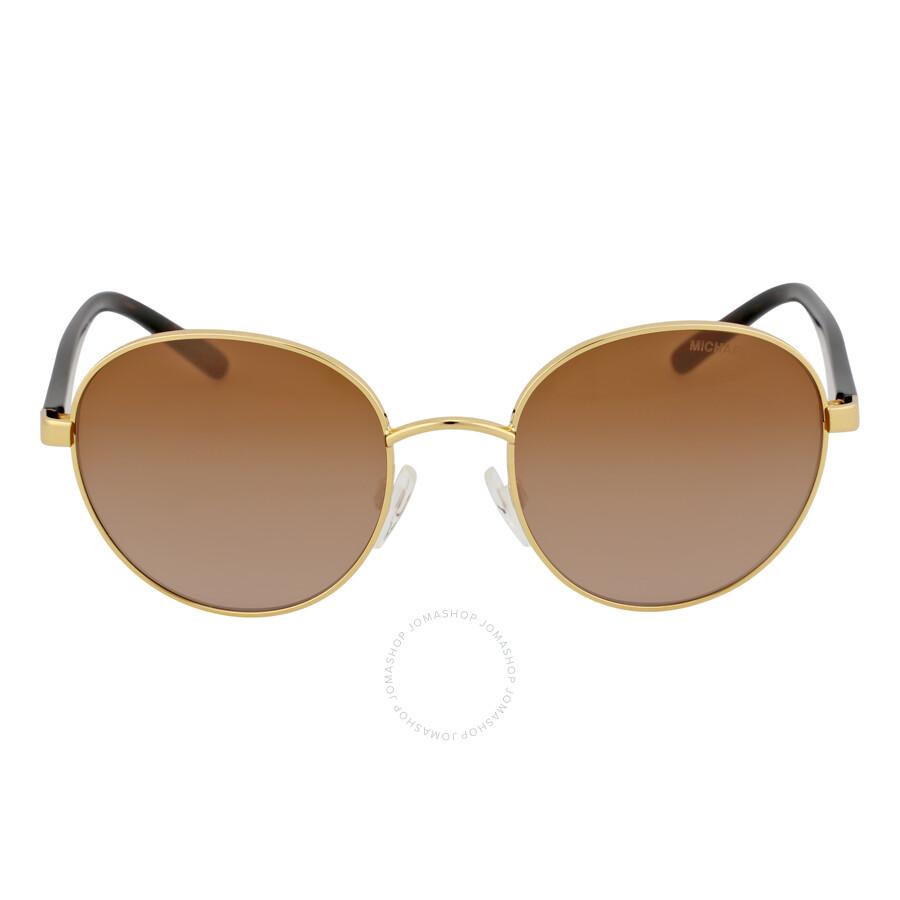 f91f0cfe8712 Michael Kors Sadie Round Gold/Smoke Gradient Sunglasses MK1007 100413 52-19  ...