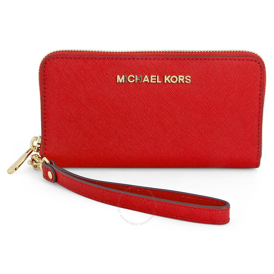 f35044abd9e1a Michael Kors Saffiano Leather Phone Wristlet Chili Red. Michael Kors Pebble  Leather Phone Crossbody Wallet