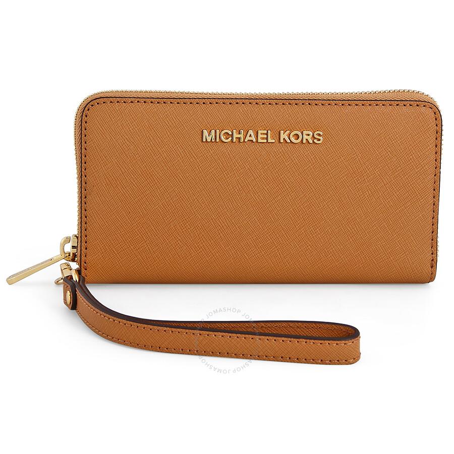 6dd2122bd54c6 Michael Kors Saffiano Leather Phone Wristlet - Peanut Brown Item No.  32T4GTVE3L-198