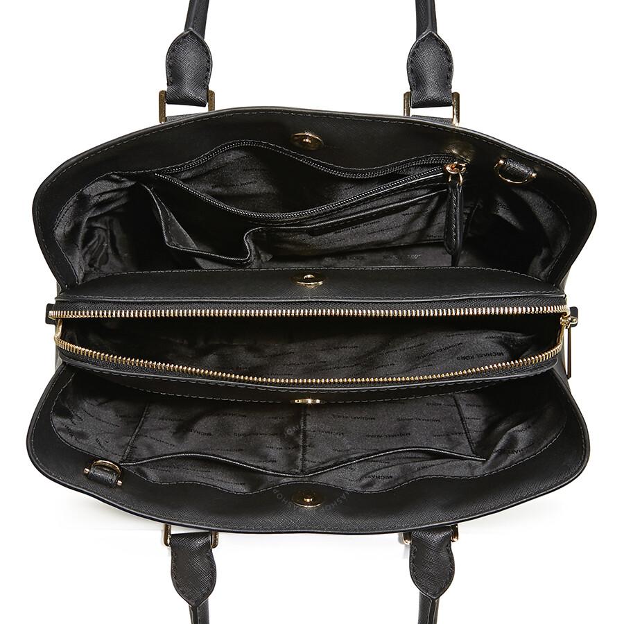 409b2ab8c64d Michael Kors Savannah Medium Leather Satchel in Moss - Black ...