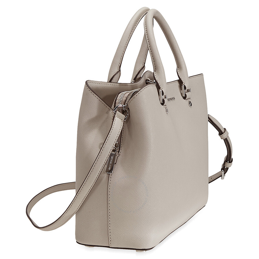 6b48f4a5cd6e Michael Kors Savannah Medium Leather Satchel in Moss - Cement ...
