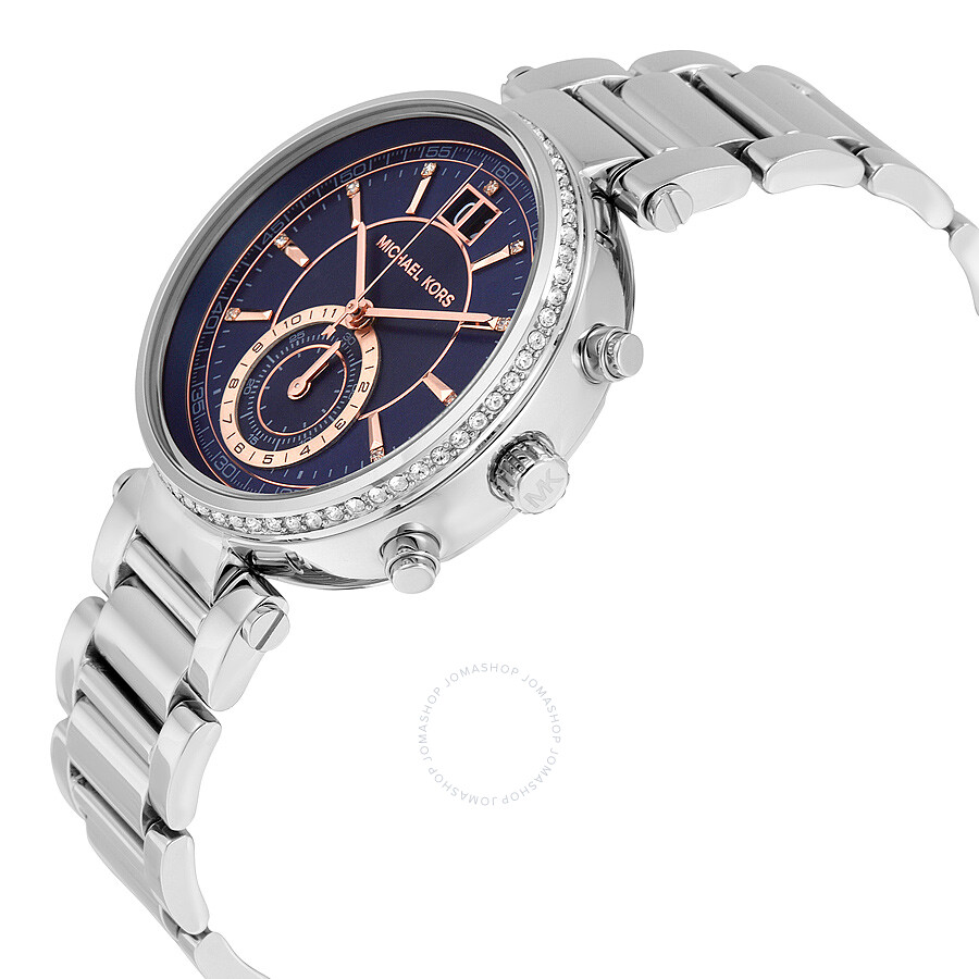 f356d8e1df5f ... Michael Kors Sawyer Blue Dial Stainless Steel Ladies Watch MK6224 ...