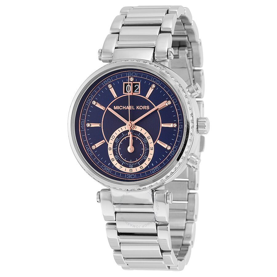 93d62d3f14cd Michael Kors Sawyer Blue Dial Stainless Steel Ladies Watch MK6224 ...