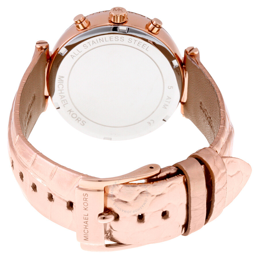 ccaf516445c91 ... Michael Kors Sawyer Rose Gold Crystal Pave Dial Leather Ladies Watch  MK2445