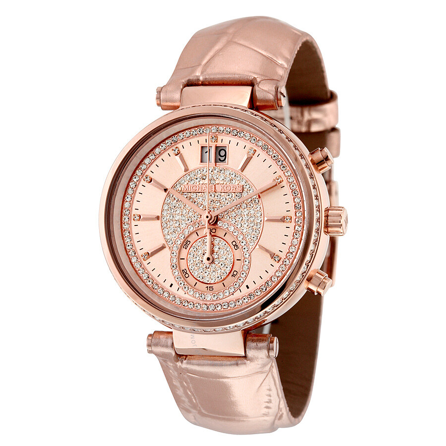 Michael Kors Sawyer Rose Gold Crystal Pave Dial Leather ...