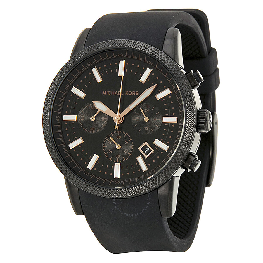 michael kors scout chronograph black black silicone
