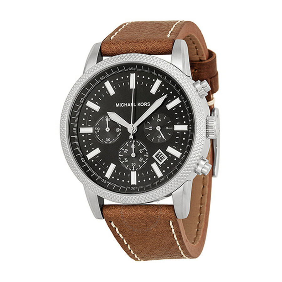michael kors scout chronograph black brown leather