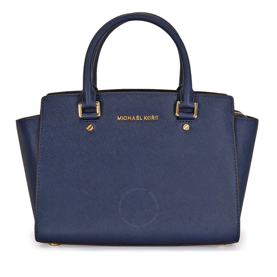 michael kors selma leather satchel navy selma michael kors handbags handbags jomashop. Black Bedroom Furniture Sets. Home Design Ideas