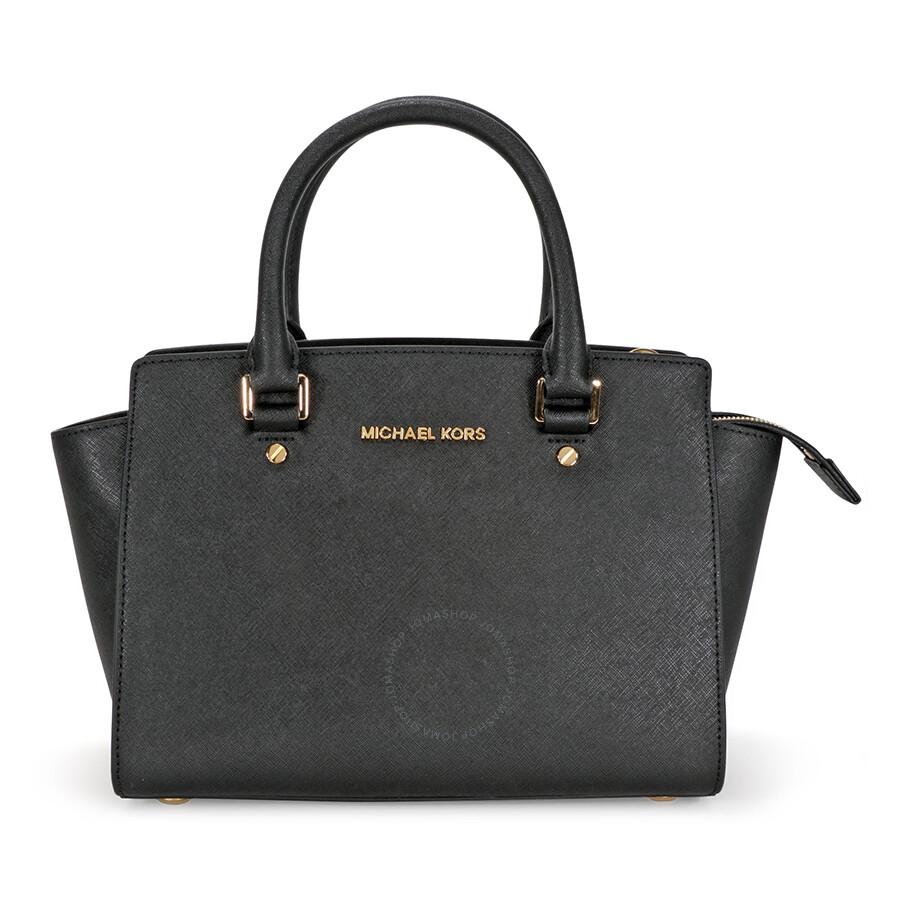 michael kors selma medium leather satchel black selma michael kors handbags handbags. Black Bedroom Furniture Sets. Home Design Ideas